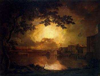 Joseph Wright Of Derby : Firework Display at the Castel Sant Angelo in Rome